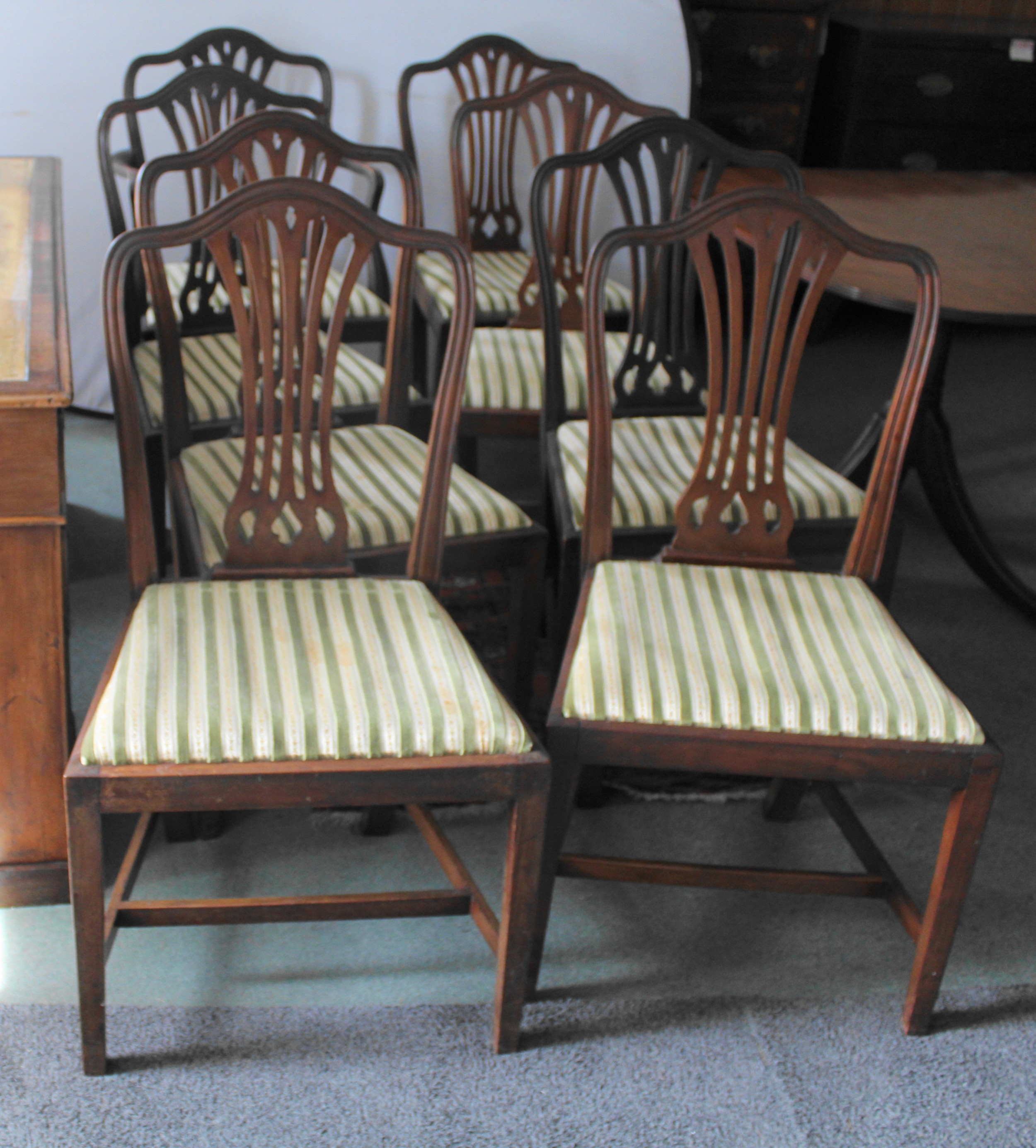 set of eight mahogany shield back dining chairs
