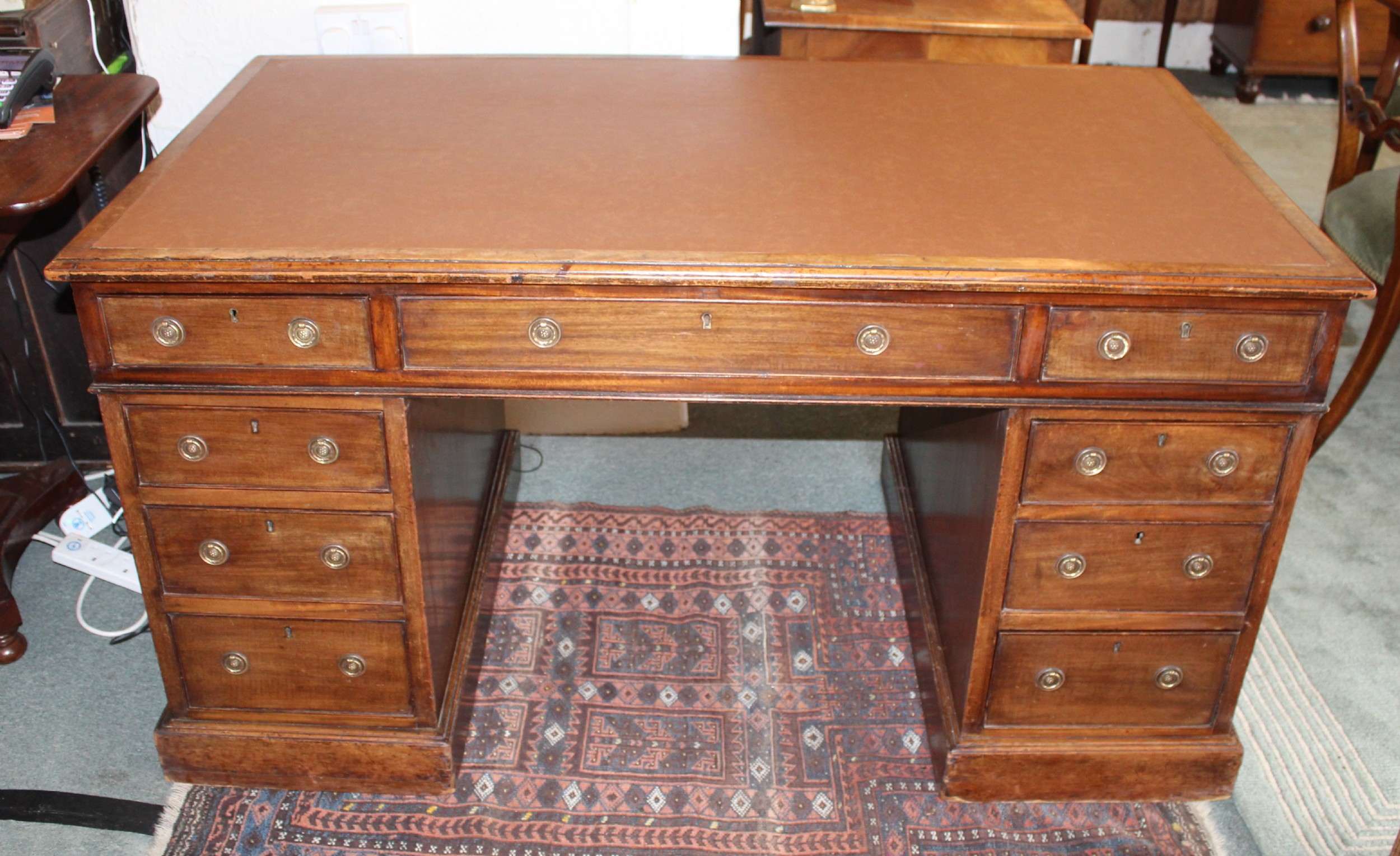 victorian mahogany large pedestal desk