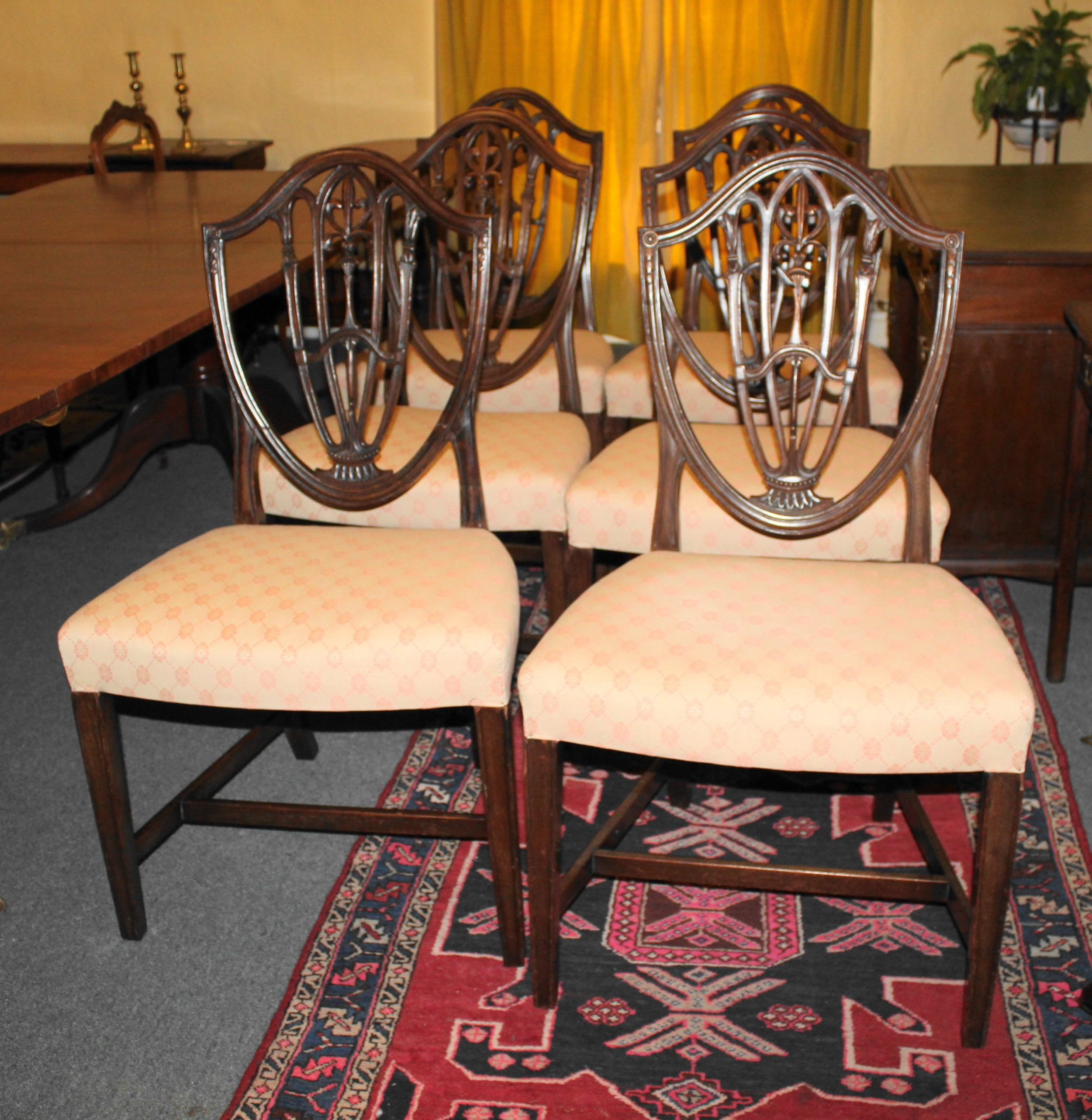 set of six george iii mahogany shield back dining chairs