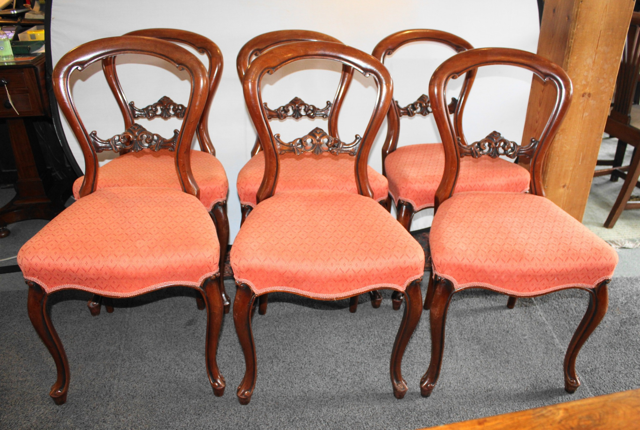 set of six good quality victorian mahogany balloon back dining chairs