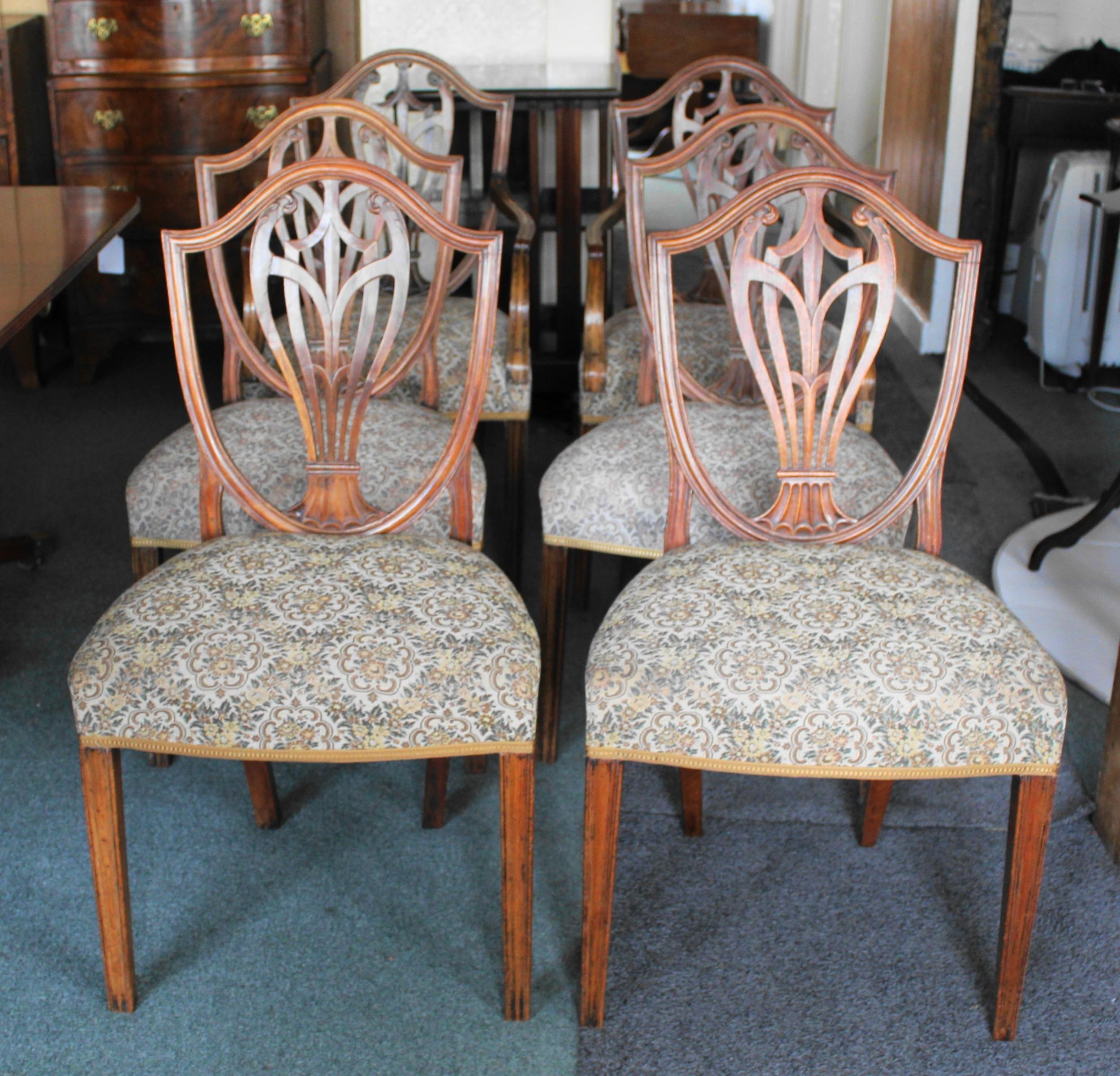 set of six george iii mahogany shield back dining chairs