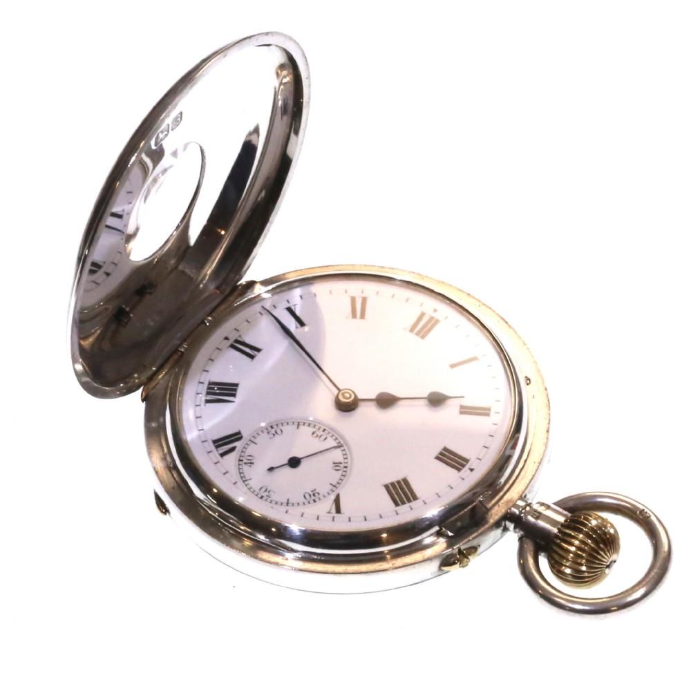 1902 keyless half hunter pocket watch 19 jewels