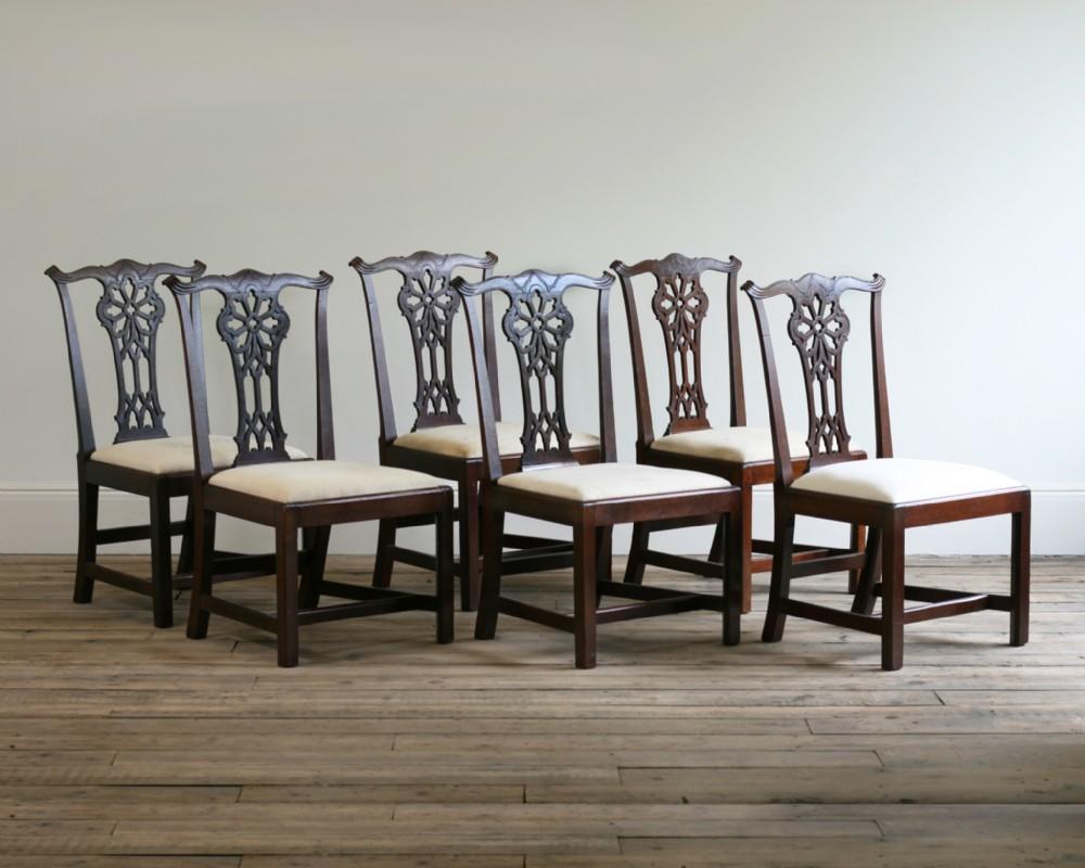 a set of six george iii mahogany side chairs