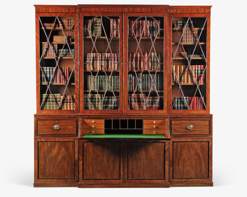 a george iii secretaire breakfront bookcase