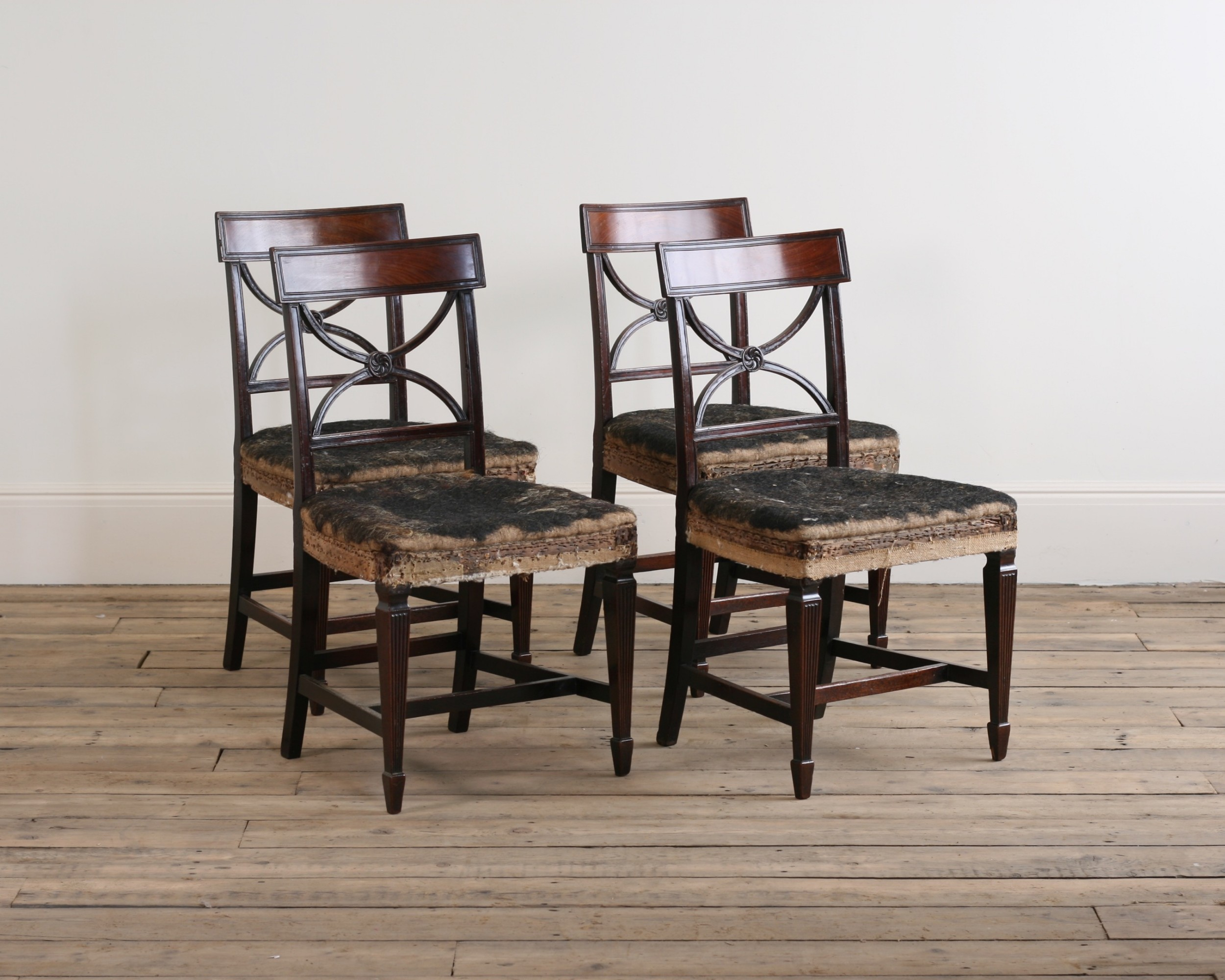 a fine set of four regency mahogany chairs