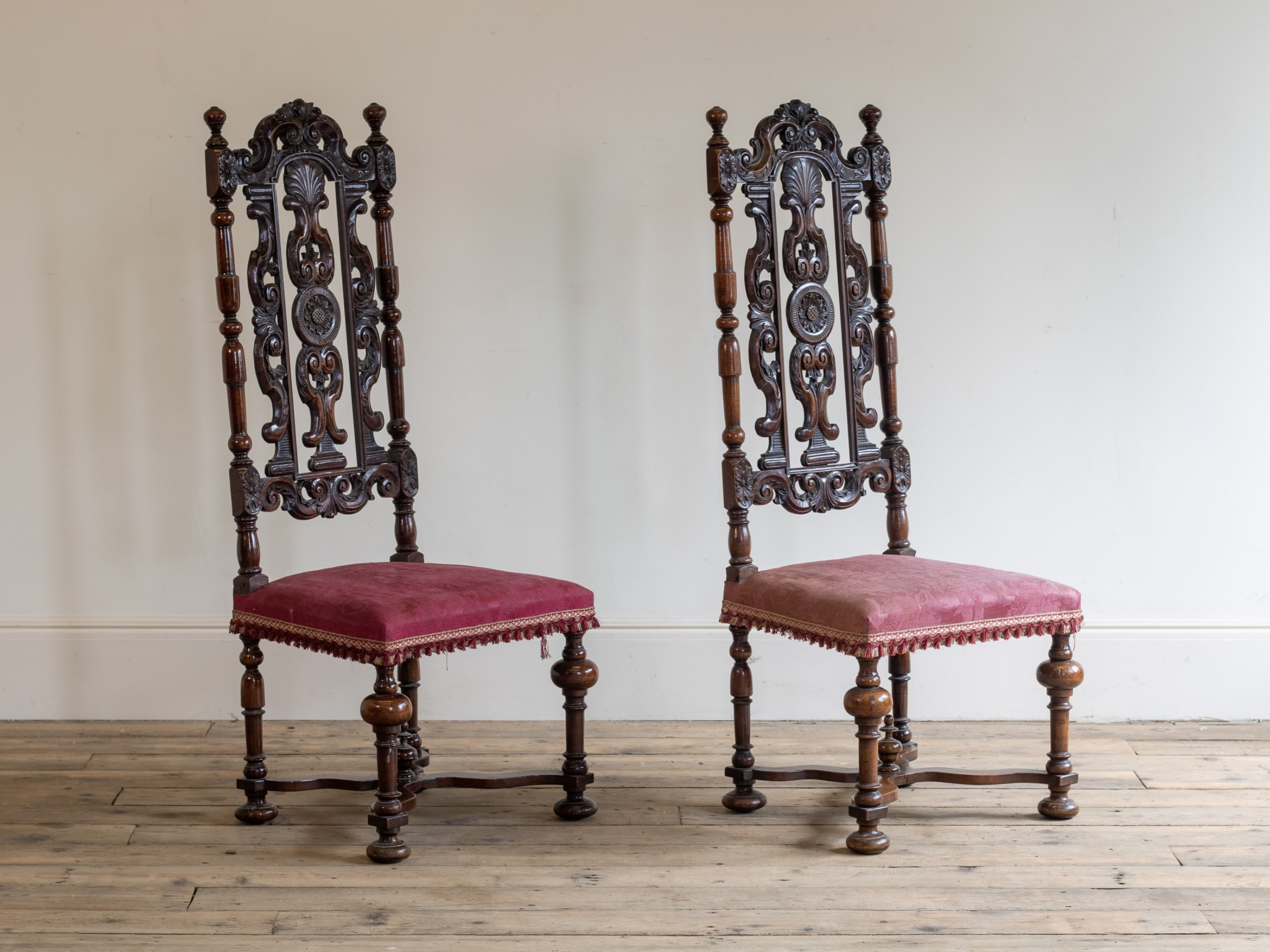 a pair of victorian carolean style walnut side chairs