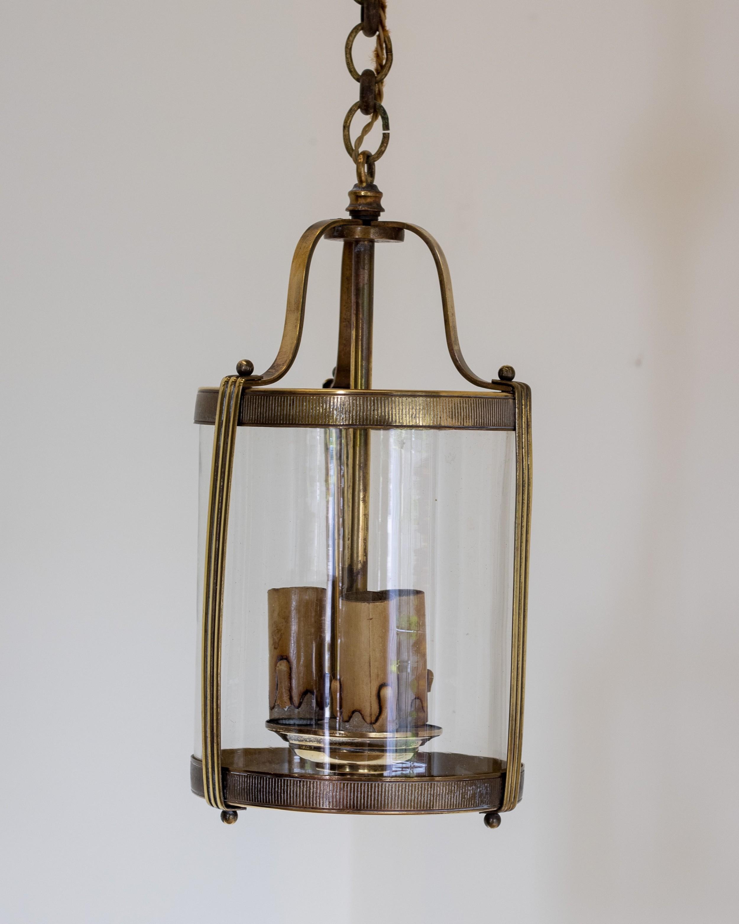 a small early 20th century brass lantern