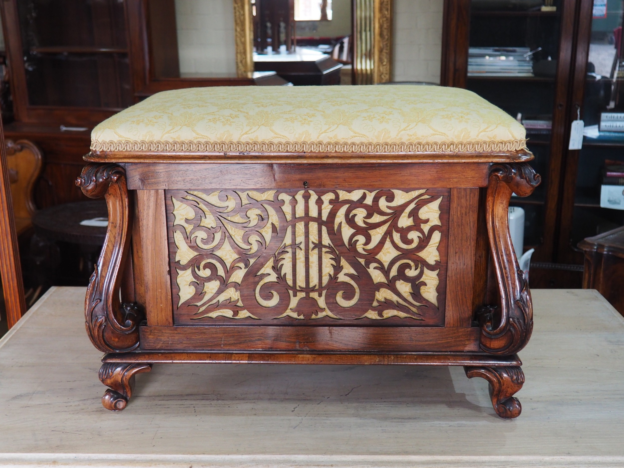 victorian rosewood canterbury piano stool