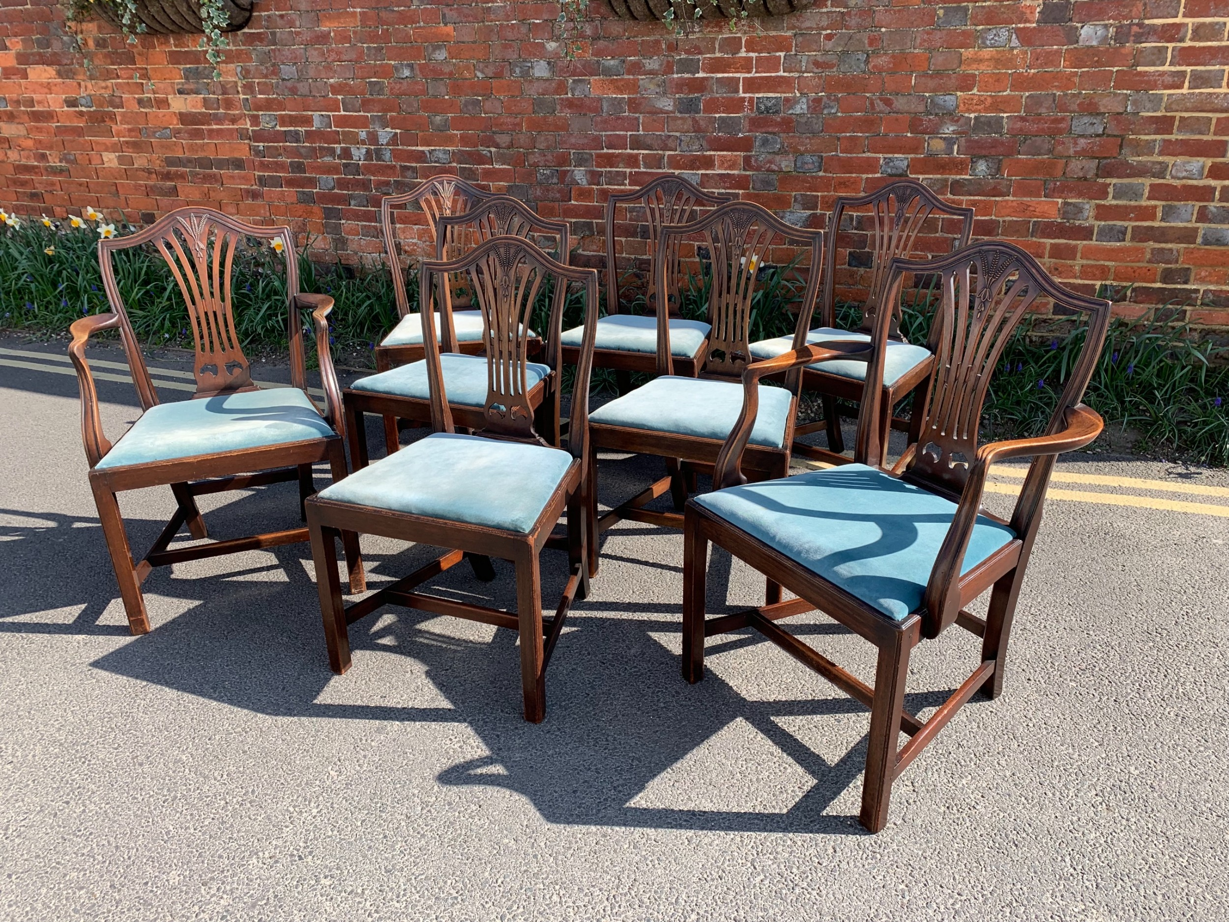 set of eight hepplewhite revival chairs