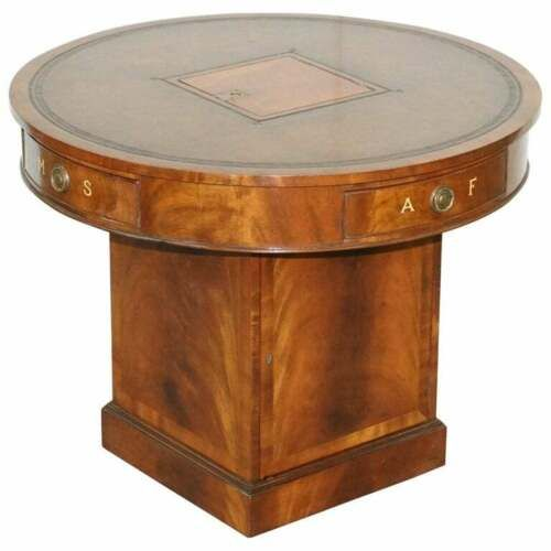 antique victorian flamed mahogany revolving rent drum table brown leather top