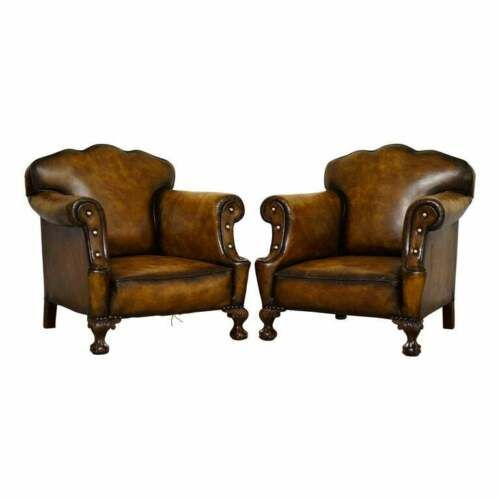 large pair of restored victorian cigar brown leather claw ball feet armchairs