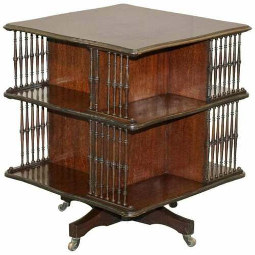 victorian antique howard son's revolving library bookcase side end wine table