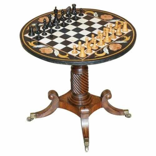 italian pietra dura marble chess table regency mahogany base staunton chess set