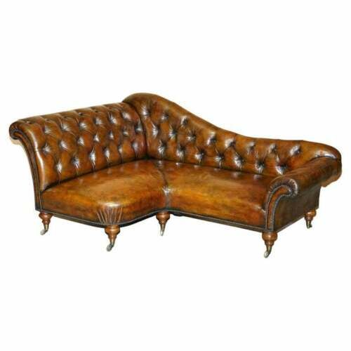 restored victorian howard son's chesterfield brown leather corner sofa chaise