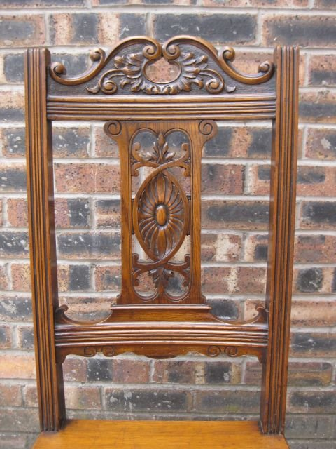 elegant antique carved oak hall chair c1900 - photo angle #2
