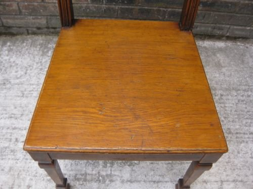elegant antique carved oak hall chair c1900 - photo angle #3