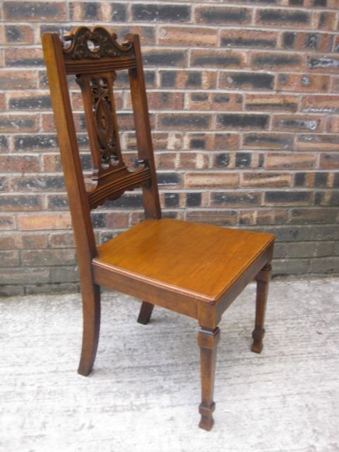 elegant antique carved oak hall chair c1900 - photo angle #4