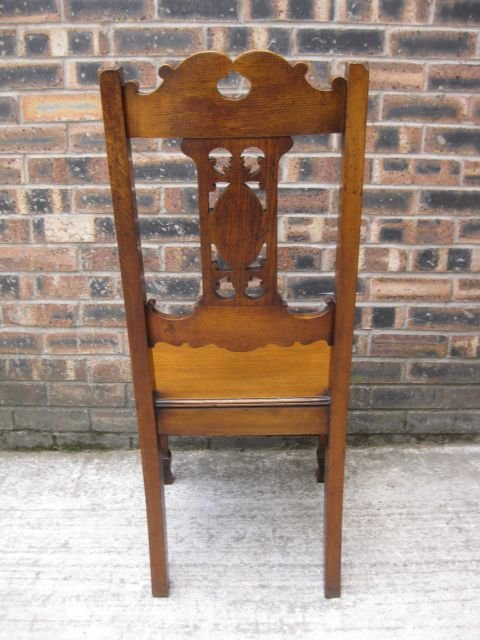 elegant antique carved oak hall chair c1900 - photo angle #5