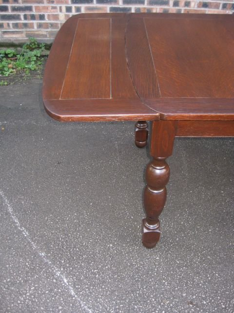 1930's vintage oak draw leaf dining table on 4 bulbous legs - photo angle #5