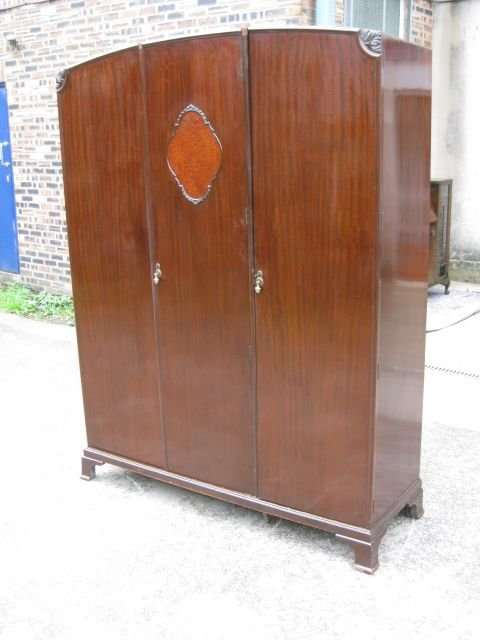 good vintage mahogany 3 door fitted wardrobe circa 191020matching tallboy for sale separately on my website - photo angle #3