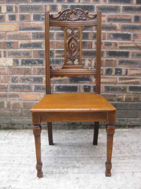 elegant antique carved oak hall chair c1900