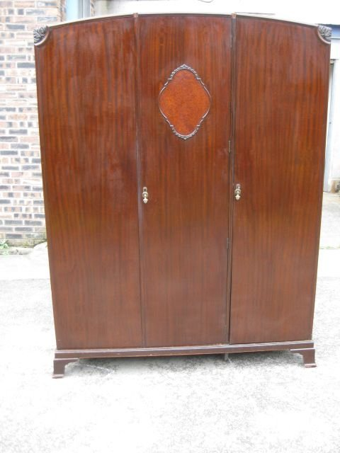 good vintage mahogany 3 door fitted wardrobe circa 191020matching tallboy for sale separately on my website