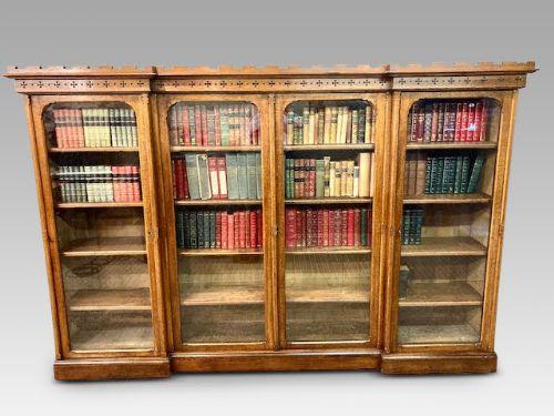 wylie and lockhead oak breakfront bookcase c1880