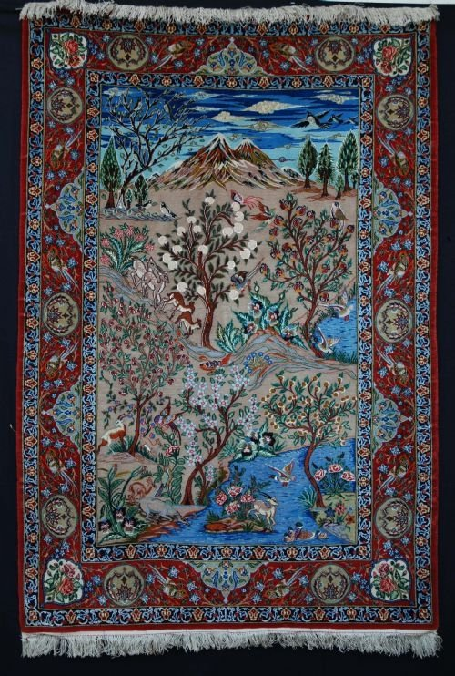 old isfahan pictorial rug central persia