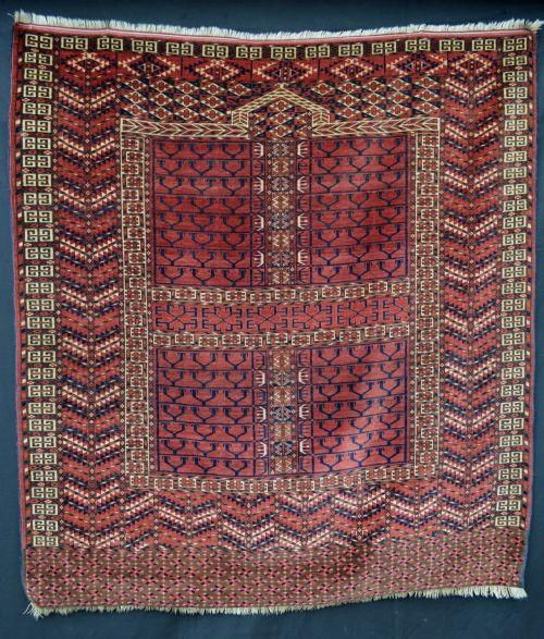 Antique Turkoman Rug: Antique Engsi Door Rug Tekke Turkmen Tribes Turkmenistan