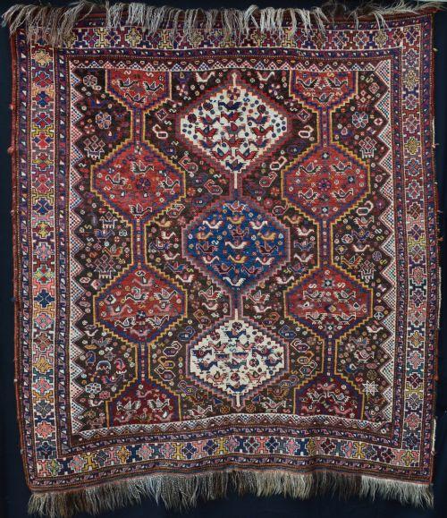 antique khamseh confederacy rug southwest persia