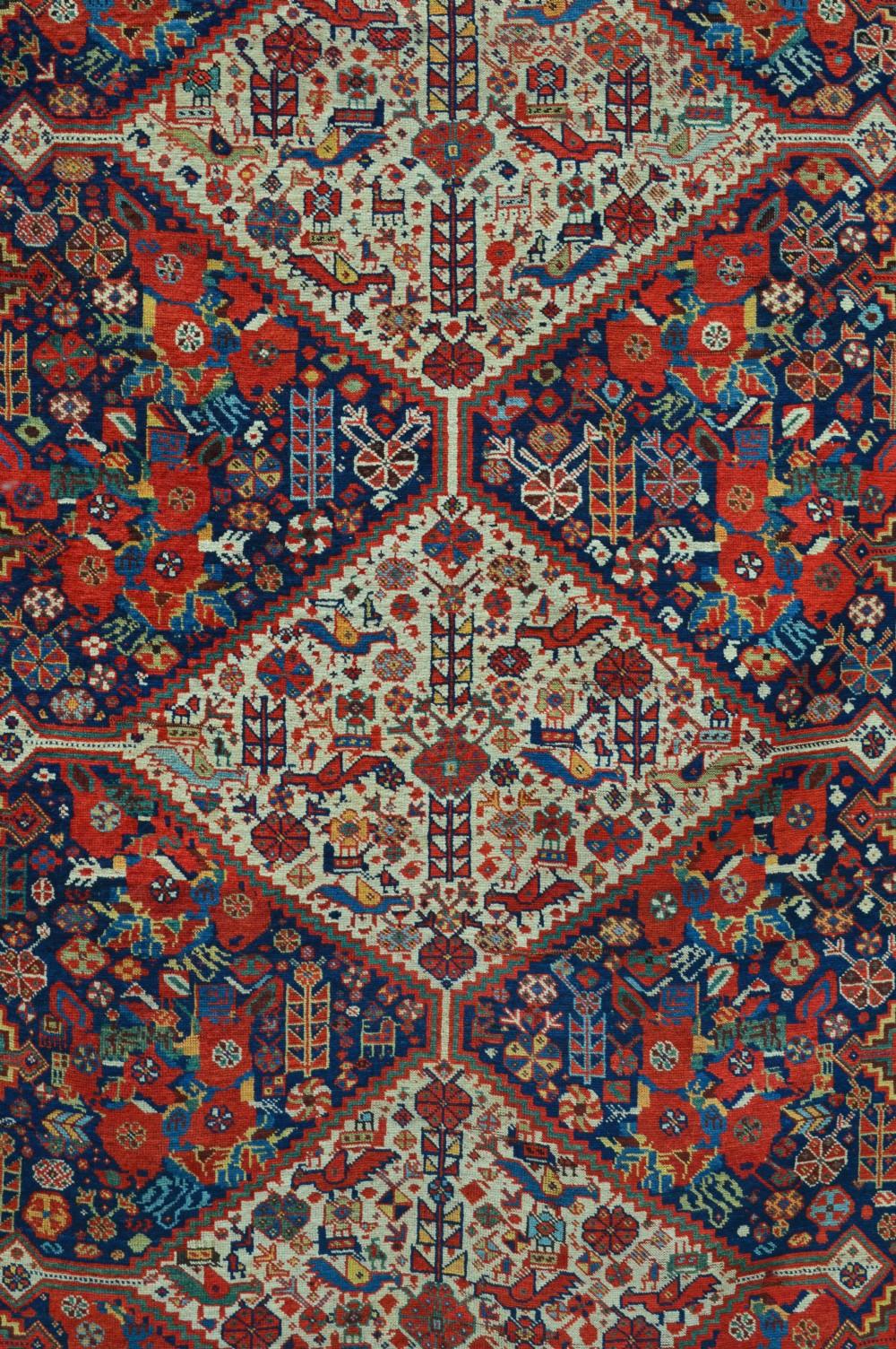 antique baharlu tribal rug of the khamseh confederacy southwest persia