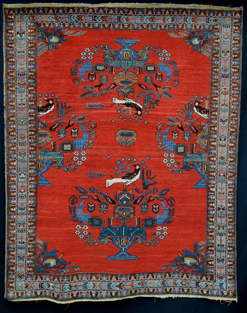 antique afshar tribal rug neiriz kerman province south persia