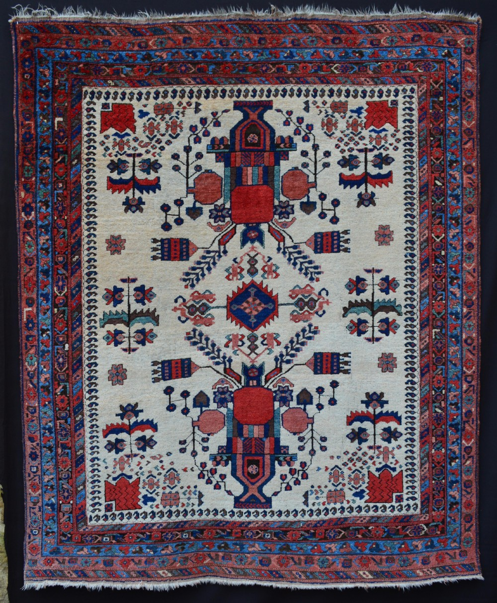 antique afshar tribal rug neiriz kerman province southern persia