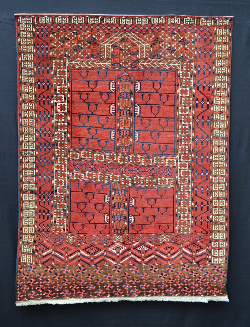 antique turkmen engsi yurtdoor rug teke tribes merv oasis turkmenistan central asia