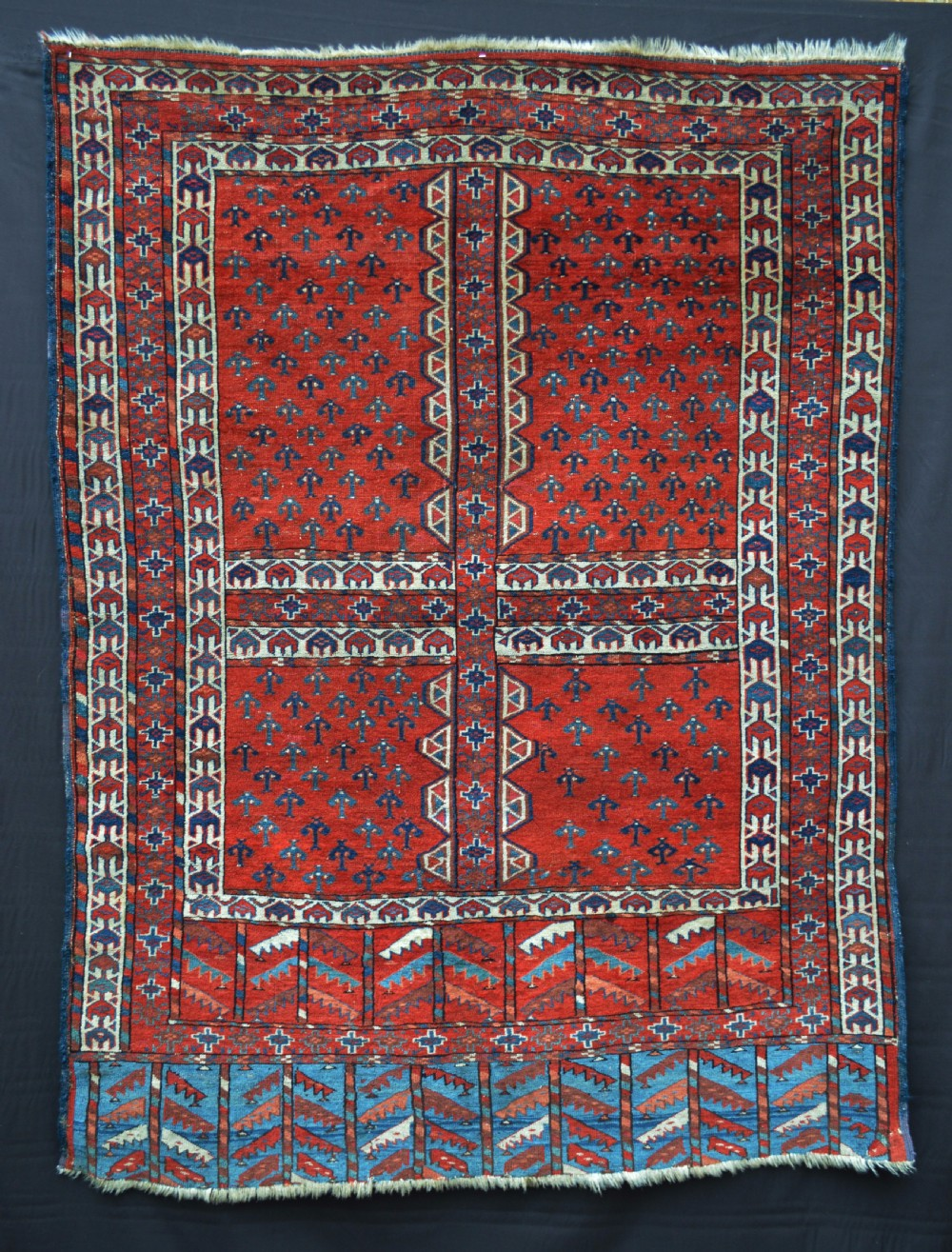 antique engsi yurtdoor rug yomut turkmen tribes transcaspian steppes turkmenistan central asia