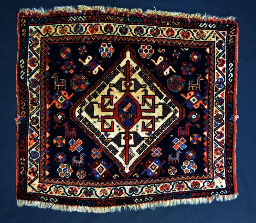 antique saddlebagface qashqa'i nomads fars province southwest persia