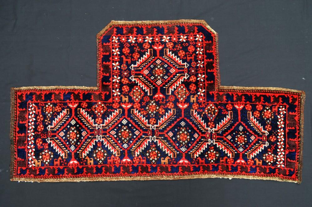 antique baluch 'ruzini' saddlecover salar khani subtribe khorassan region northeast persia