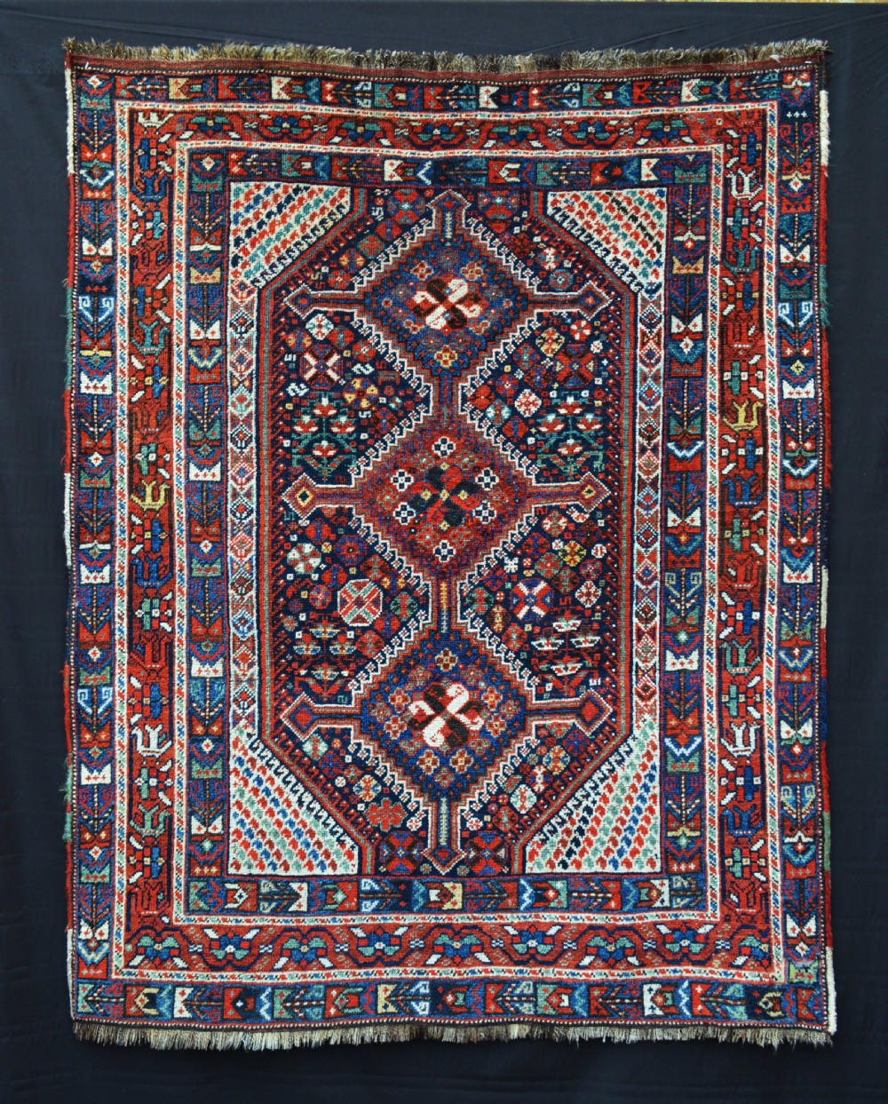 antique khamseh confederacy rug arab ghani tribe fars province southwest persia