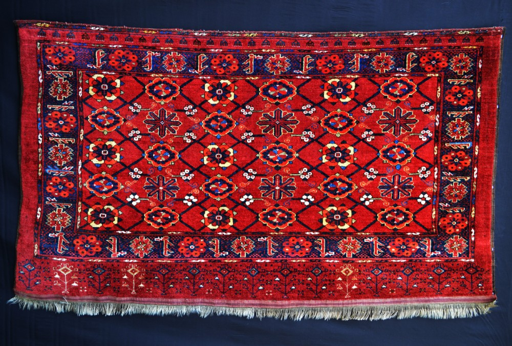 antique large turkmen storage bagface ersary tribes middle amu darya region turkmenistan central asia