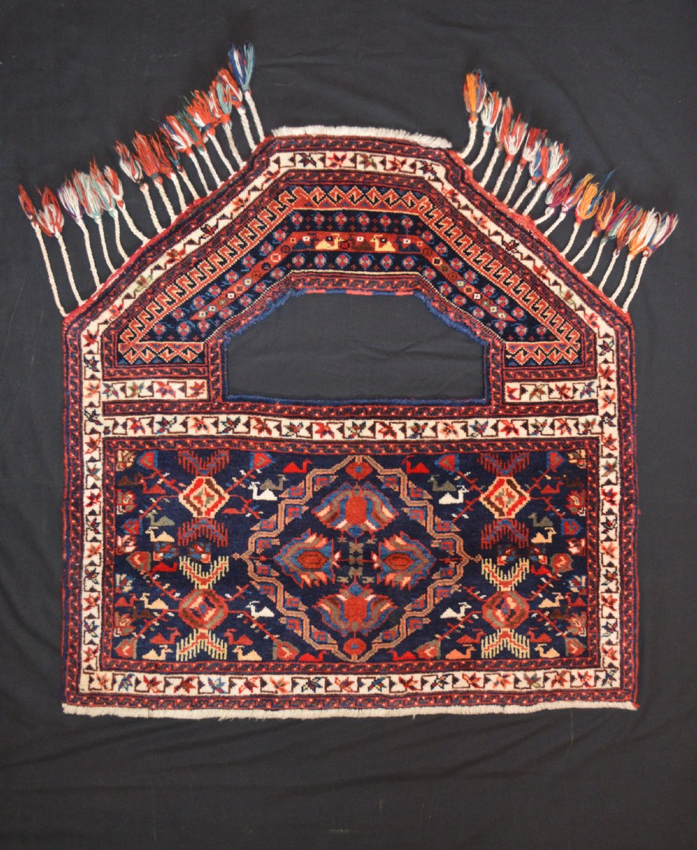 antique ceremonial saddlecover afshar tribes kerman province south persia