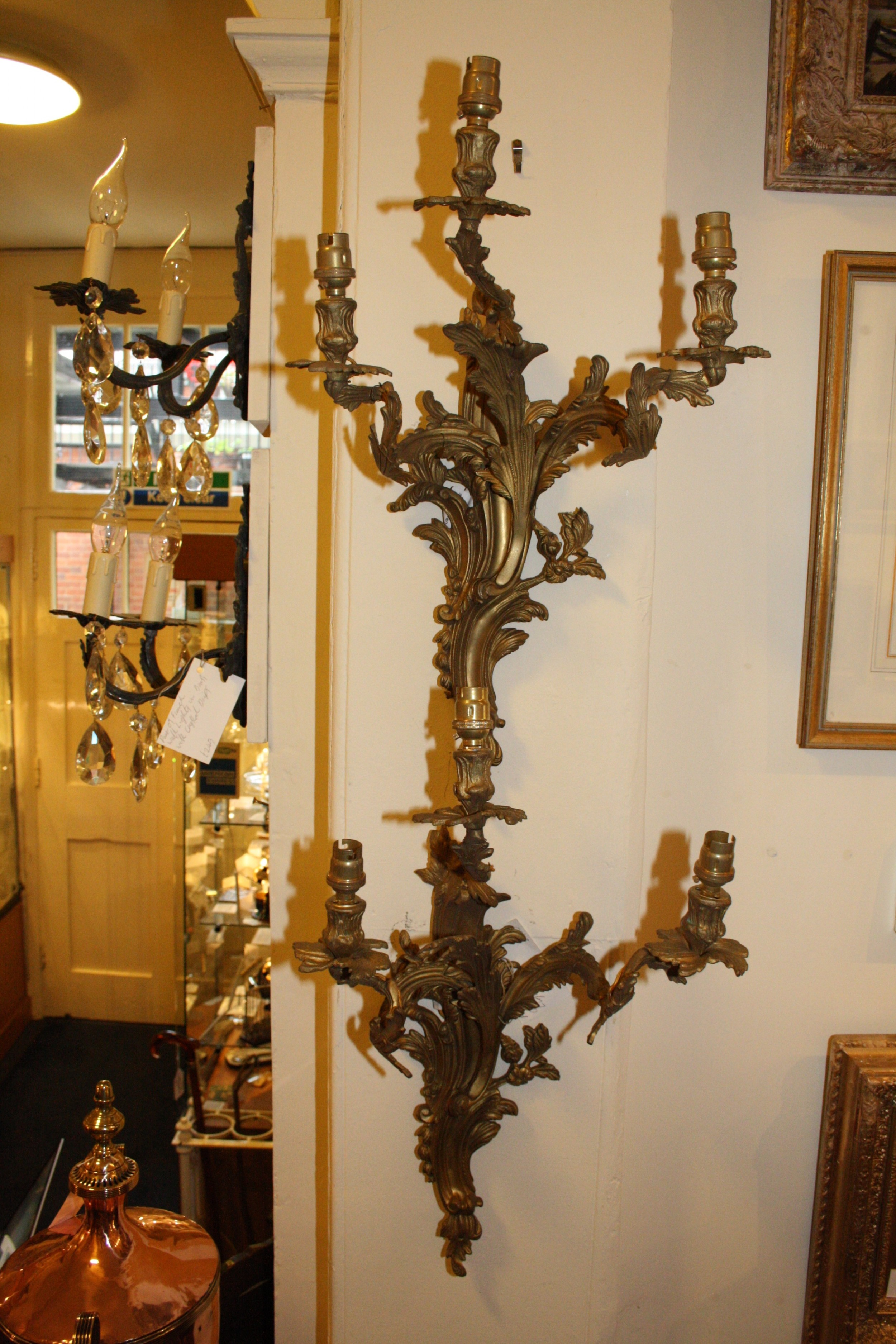 pair of early 20th century gilt brass three arm wall lights
