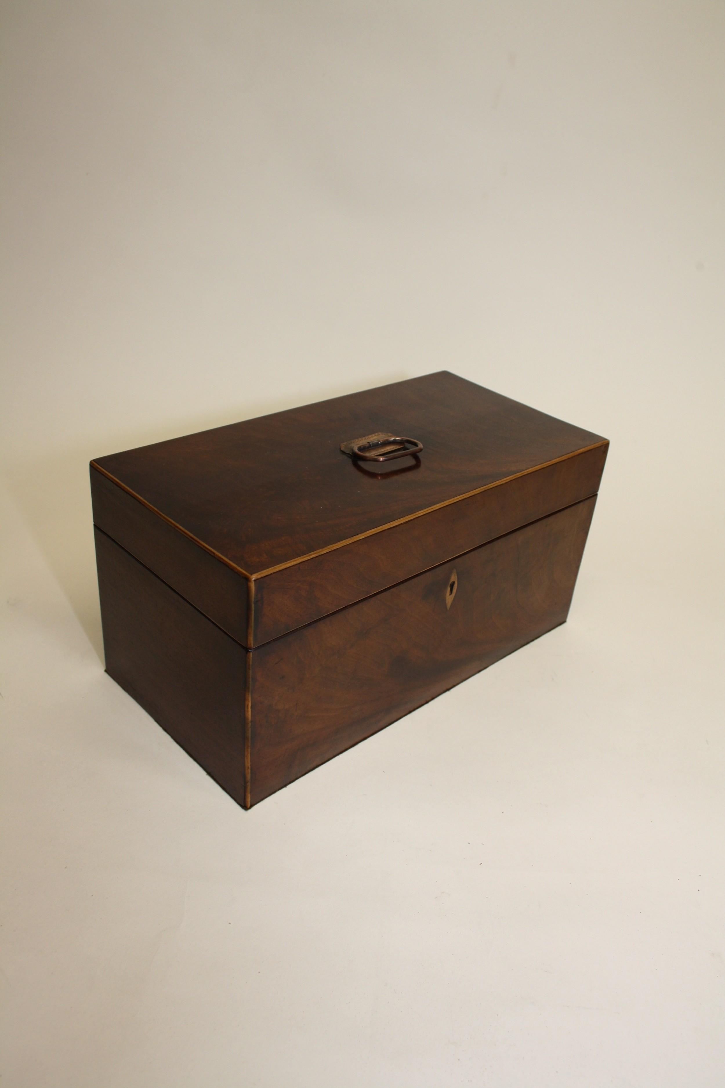 19th century mahogany tea caddy with bowl