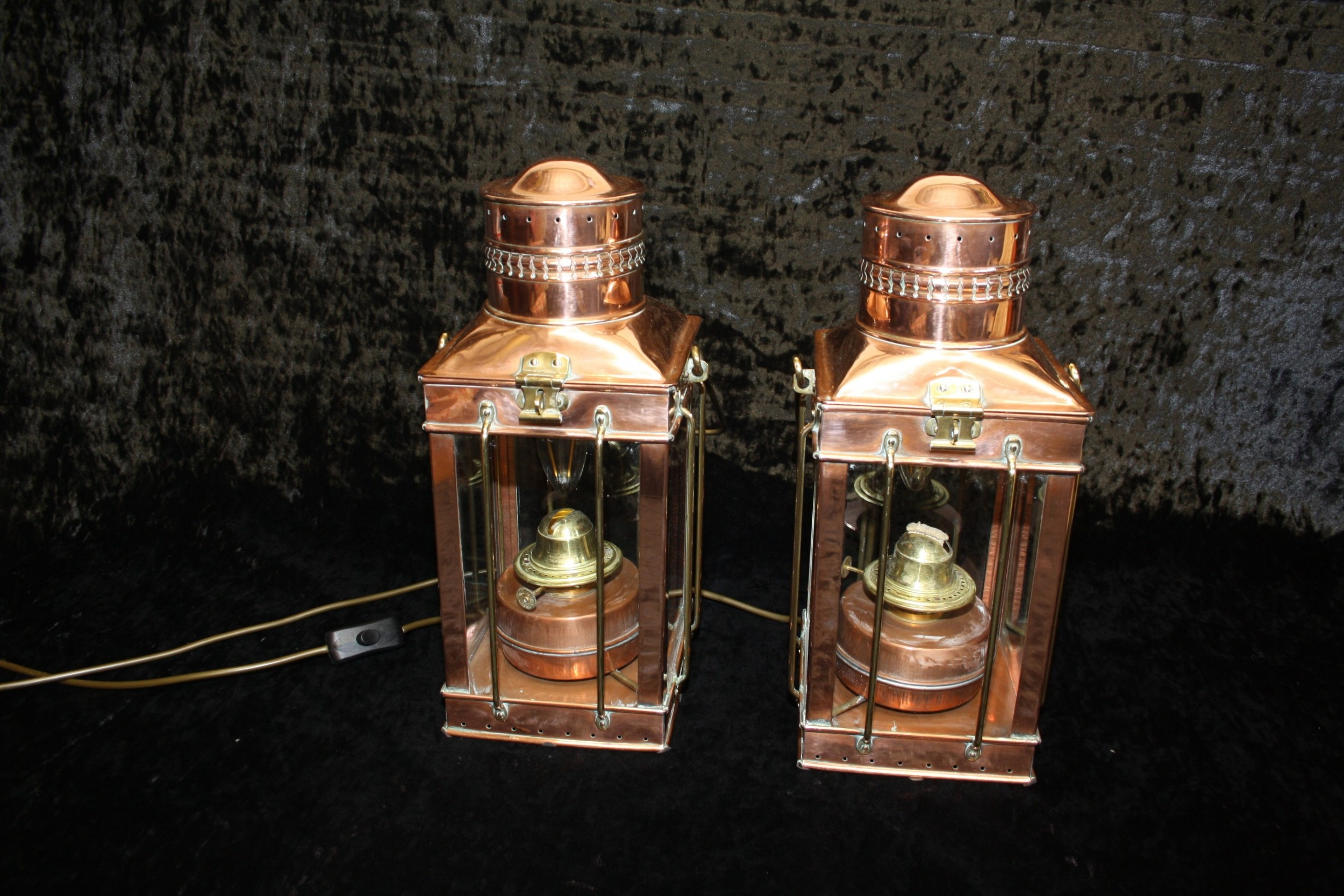 pair of early 20th century copper lanterns