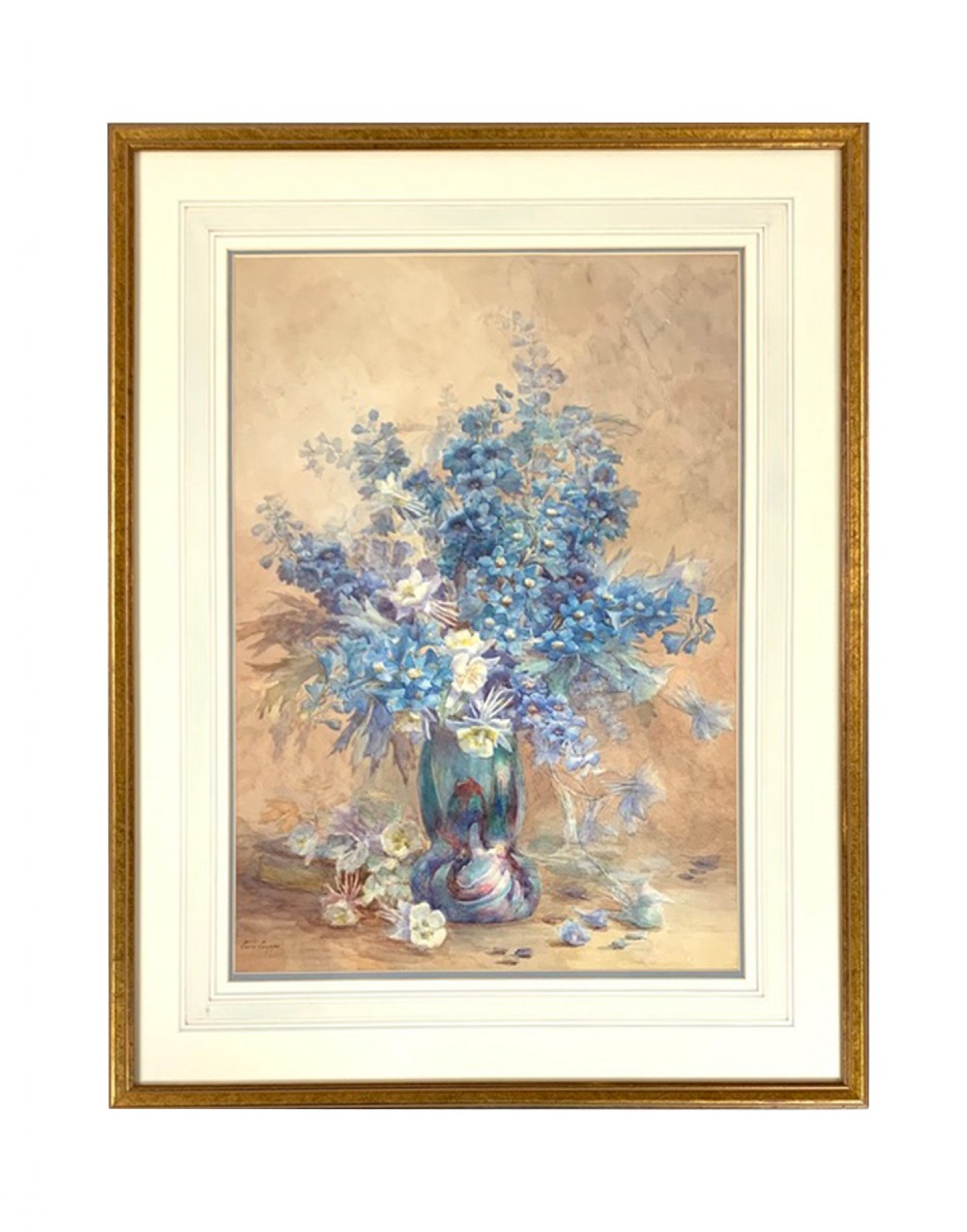 delphiniums in a lustre glass vase watercolour lucie louppe french