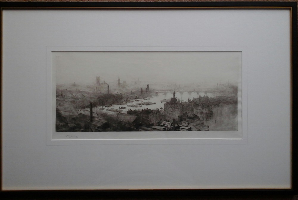 w l wllie signed etching river thames from st pauls
