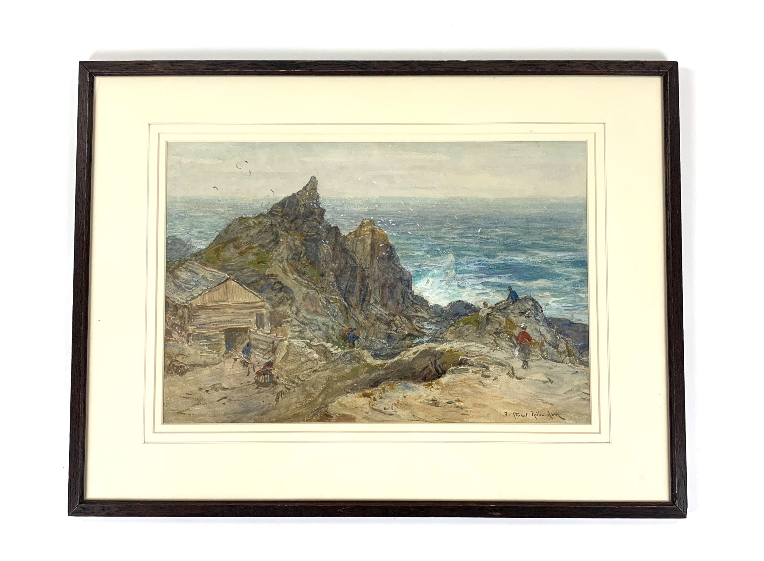 the harbour rocks polperrow cornwall f s richardson staithes group watercolour