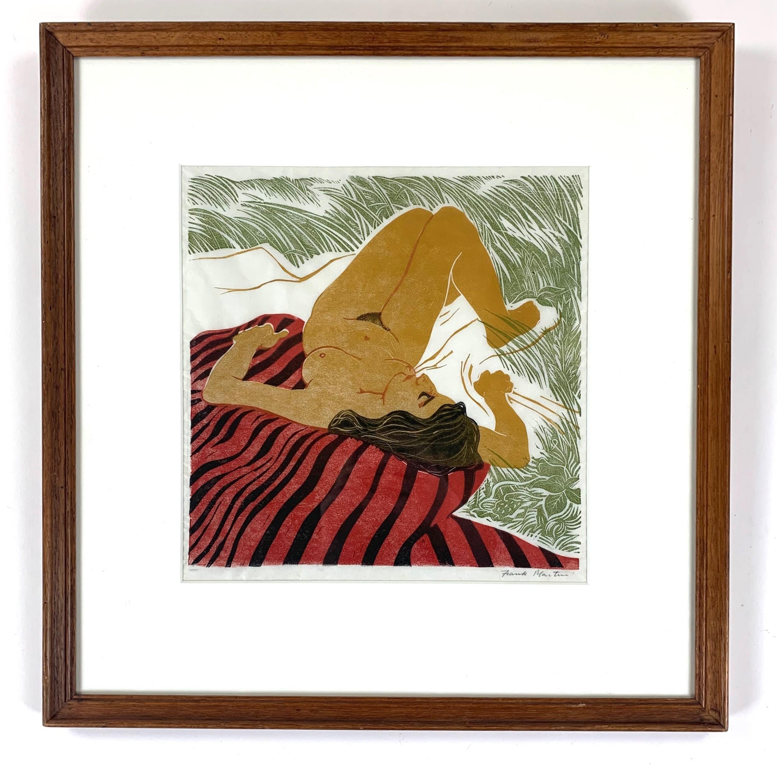 frank vernon martin signed linocut sunbather