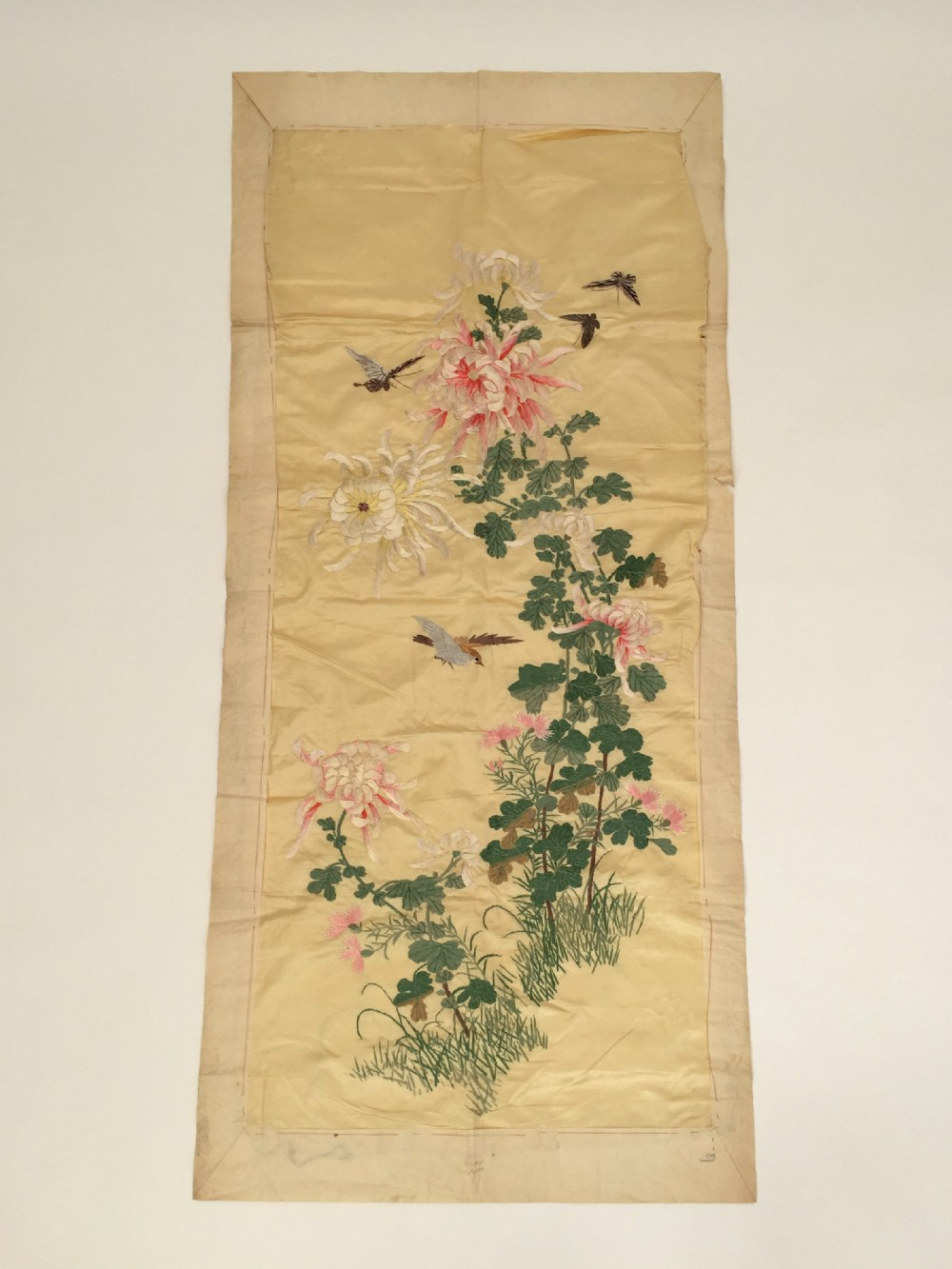 antique japanese silk embroidered wall hanging with original paper backing and labels