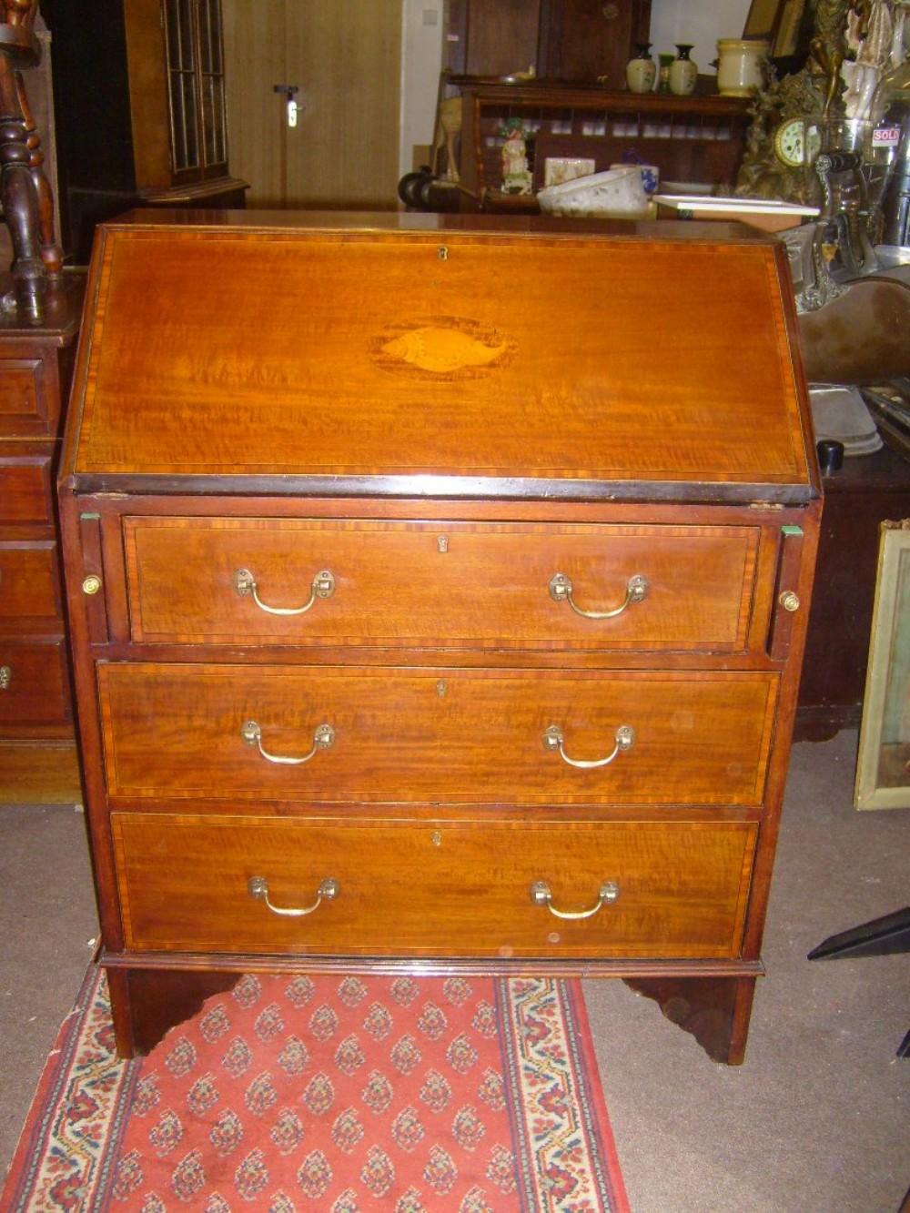 edwardian inlaid mahogany bureau