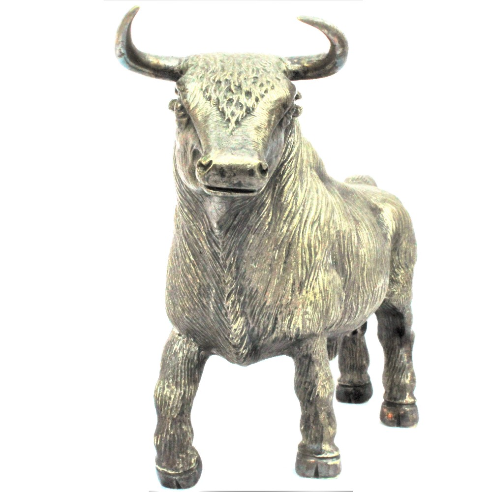 plated sculpture of a bull